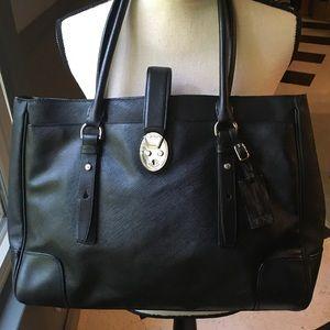 NWOT TUMI black ladies laptop briefcase w/silver